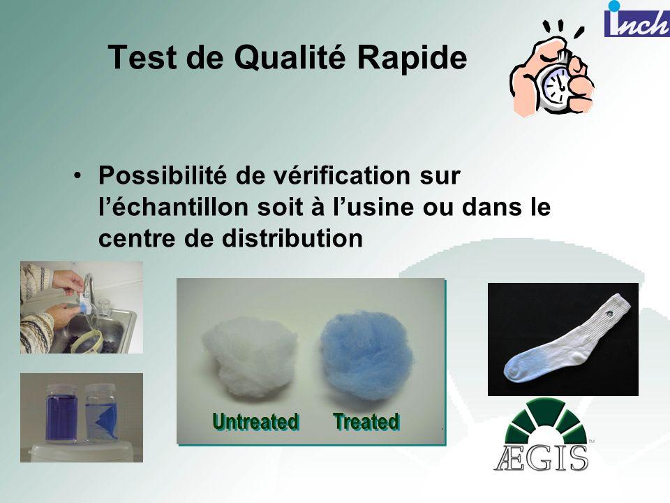 Test de Qualité Rapide Possibilité de vérification sur léchantillon soit à lusine ou dans le centre de distribution Untreated Treated