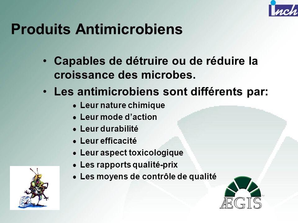 Produits Antimicrobiens Capables de détruire ou de réduire la croissance des microbes. Les antimicrobiens sont différents par: Leur nature chimique Le