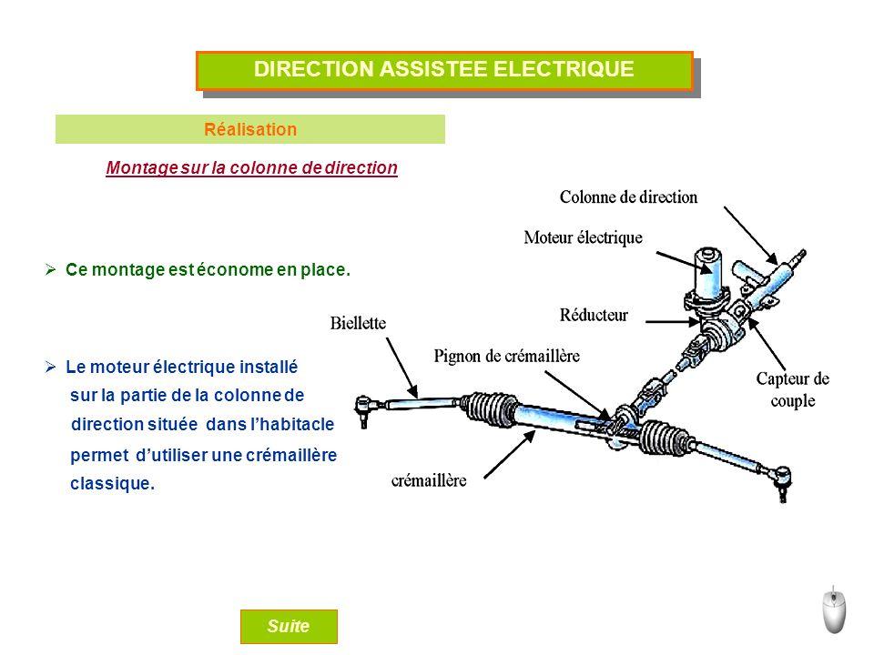 DIRECTION ASSISTEE ELECTRIQUE Réalisation Montage sur la colonne de direction Ce montage est économe en place. Le moteur électrique installé Suite sur