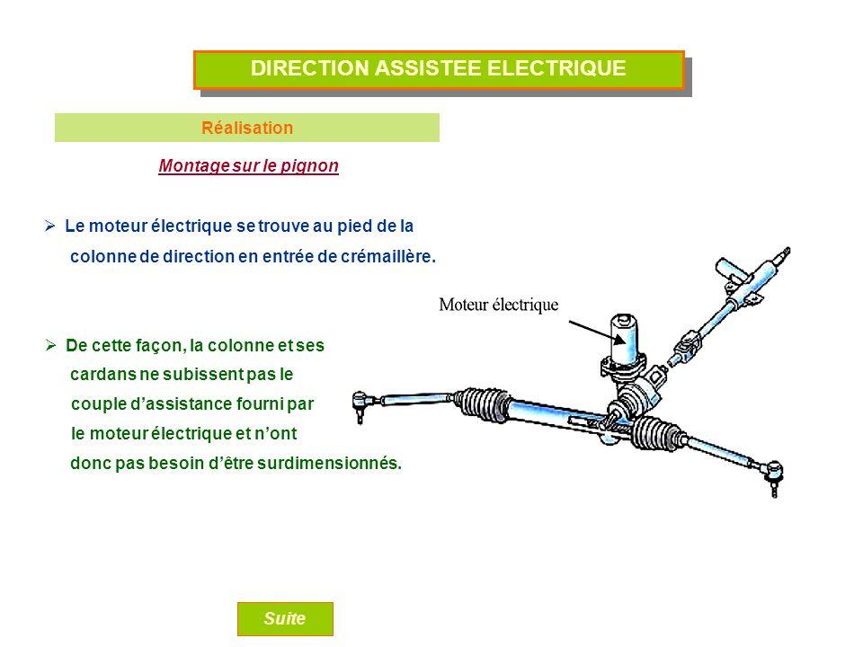 DIRECTION ASSISTEE ELECTRIQUE Réalisation Montage sur le pignon Le moteur électrique se trouve au pied de la De cette façon, la colonne et ses Suite c