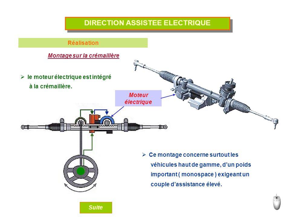 DIRECTION ASSISTEE ELECTRIQUE Réalisation Montage sur la crémaillère le moteur électrique est intégré Moteur électrique Ce montage concerne surtout les Suite à la crémaillère.