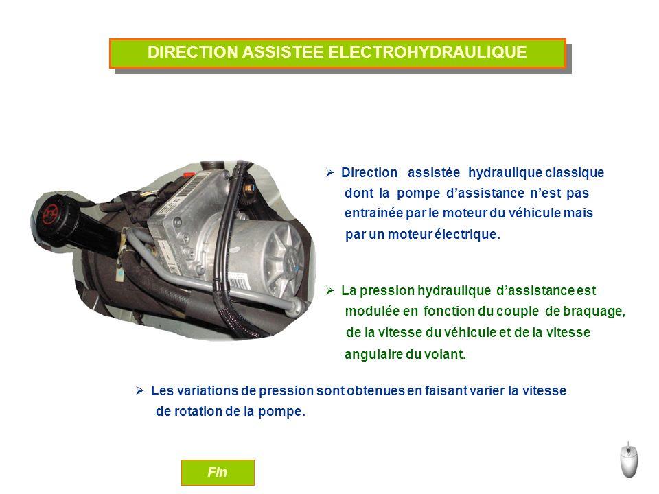 DIRECTION ASSISTEE ELECTROHYDRAULIQUE Direction assistée hydraulique classique La pression hydraulique dassistance est Les variations de pression sont