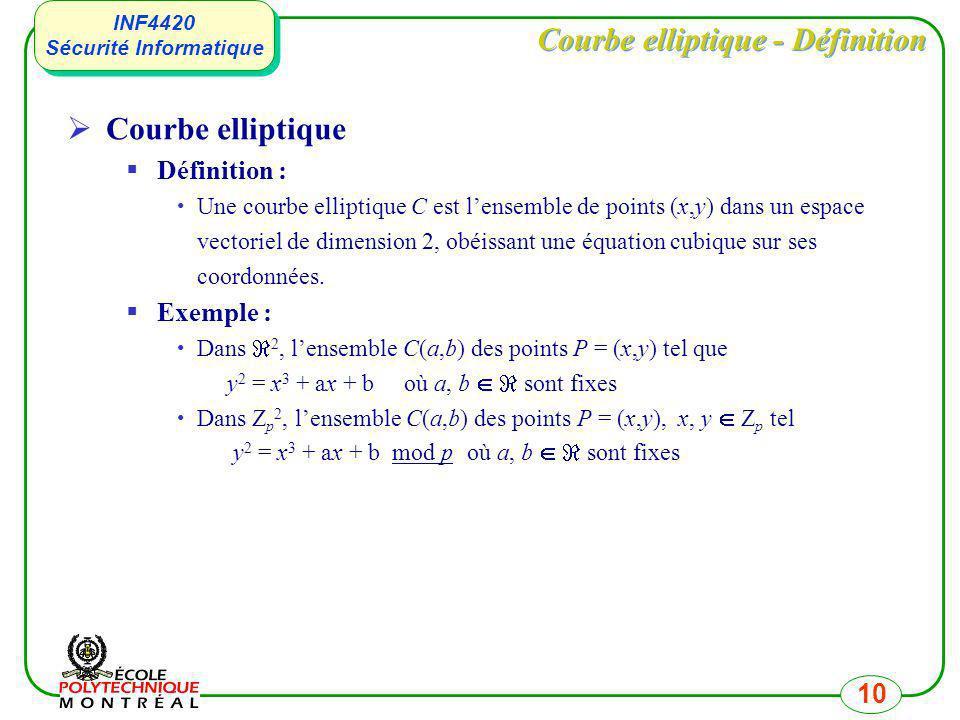 INF4420 Sécurité Informatique INF4420 Sécurité Informatique 10 Courbe elliptique - Définition Courbe elliptique Définition : Une courbe elliptique C e