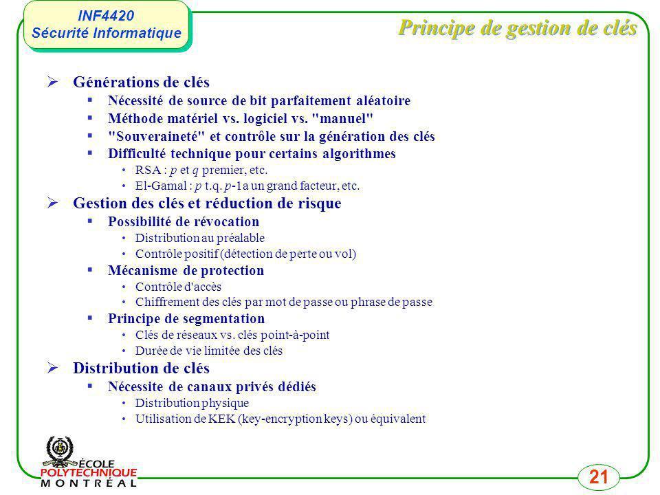 INF4420 Sécurité Informatique INF4420 Sécurité Informatique 21 Principe de gestion de clés Générations de clés Nécessité de source de bit parfaitement