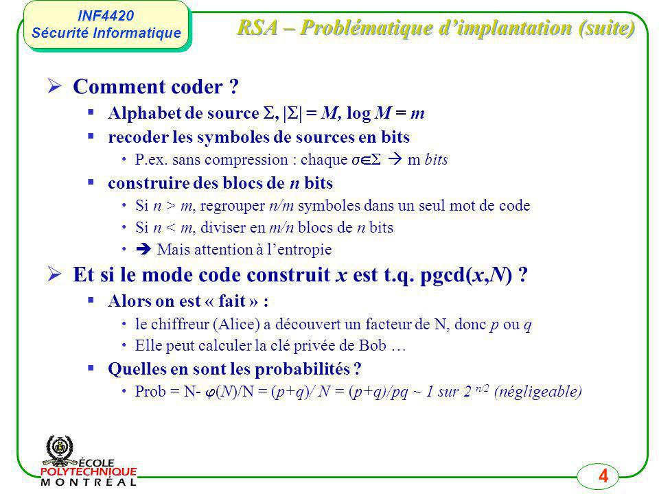 INF4420 Sécurité Informatique INF4420 Sécurité Informatique 5 RSA – Niveau de sécurité La seule méthode connue pour retrouver la clé privé d et cassé RSA est de connaître (N) On peut calculer (N) si on peut factoriser N Si on connaît (N) on peut calculer les facteurs Casser RSA par cette méthode est aussi difficile que factoriser Sécurité de RSA basée sur deux principes/hypothèses 1.Il nexiste pas dalgorithme efficace pour factoriser 2.Il ny pas moyen de casser RSA sans connaître (N)