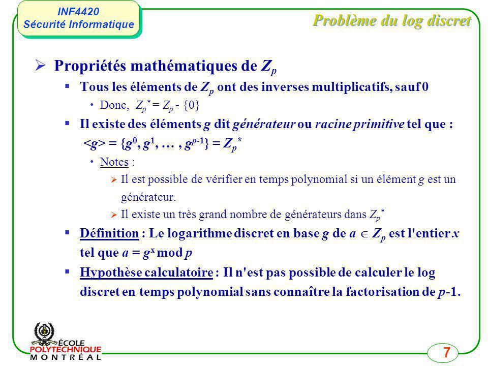 INF4420 Sécurité Informatique INF4420 Sécurité Informatique 7 Problème du log discret Propriétés mathématiques de Z p Tous les éléments de Z p ont des