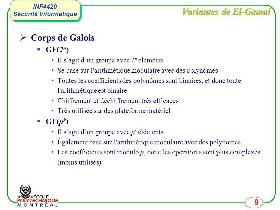 INF4420 Sécurité Informatique INF4420 Sécurité Informatique 9 Variantes de El-Gamal Corps de Galois GF(2 n ) Il sagit dun groupe avec 2 n éléments Se