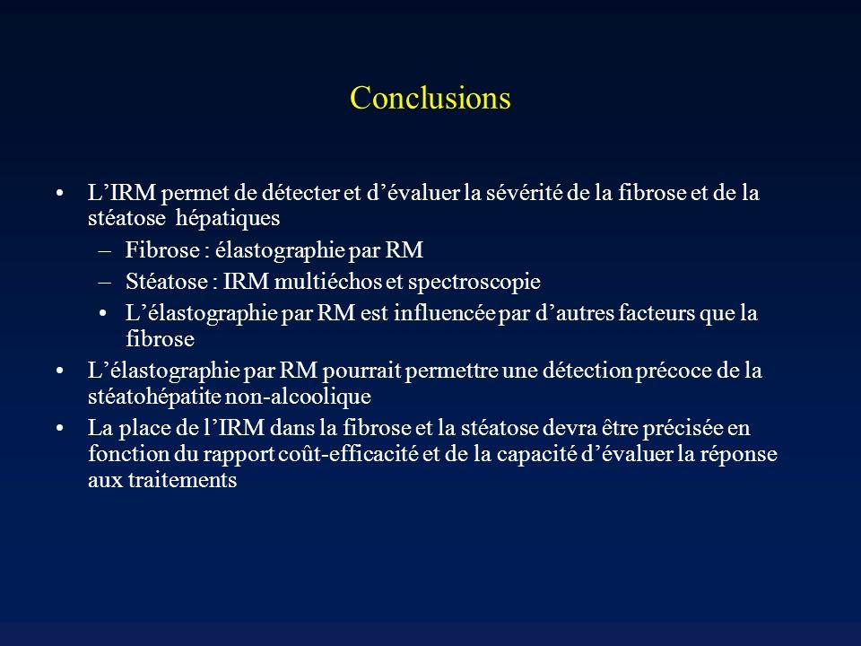 Conclusions LIRM permet de détecter et dévaluer la sévérité de la fibrose et de la stéatose hépatiques –Fibrose : élastographie par RM –Stéatose : IRM