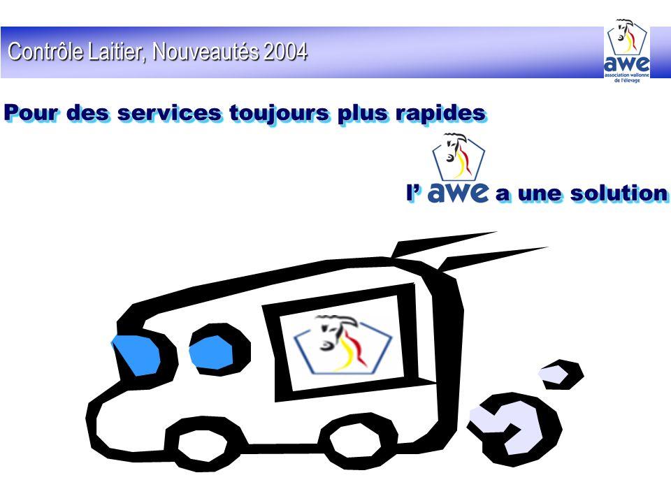 Contrôle Laitier, Nouveautés 2004 Pour des services toujours plus rapides l a une solution Pour des services toujours plus rapides l a une solution
