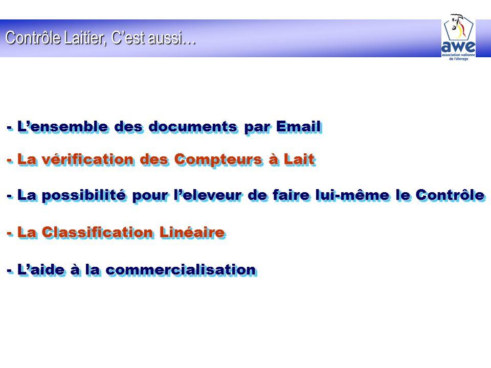 Contrôle Laitier, Cest aussi… - Lensemble des documents par Email - La vérification des Compteurs à Lait - La possibilité pour leleveur de faire lui-m