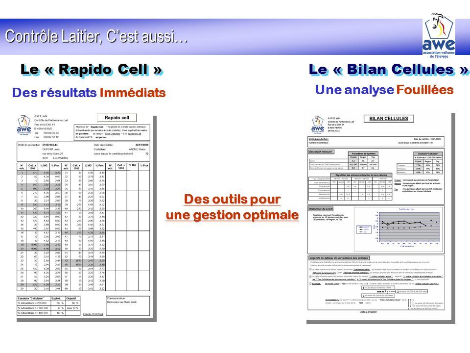Contrôle Laitier, Cest aussi… Le « Rapido Cell » Le « Bilan Cellules » Des résultats Immédiats Une analyse Fouillées Des outils pour une gestion optim