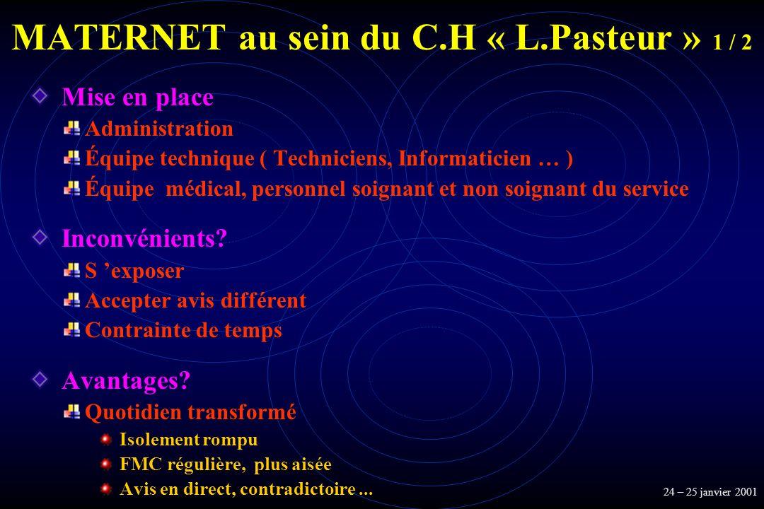 MATERNET au sein du C.H « L.Pasteur » 1 / 2 Mise en place Administration Équipe technique ( Techniciens, Informaticien … ) Équipe médical, personnel s