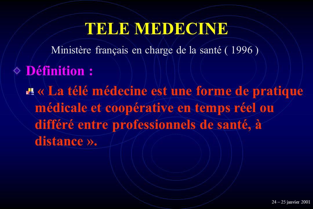 TELE MEDECINE Définition : « La télé médecine est une forme de pratique médicale et coopérative en temps réel ou différé entre professionnels de santé
