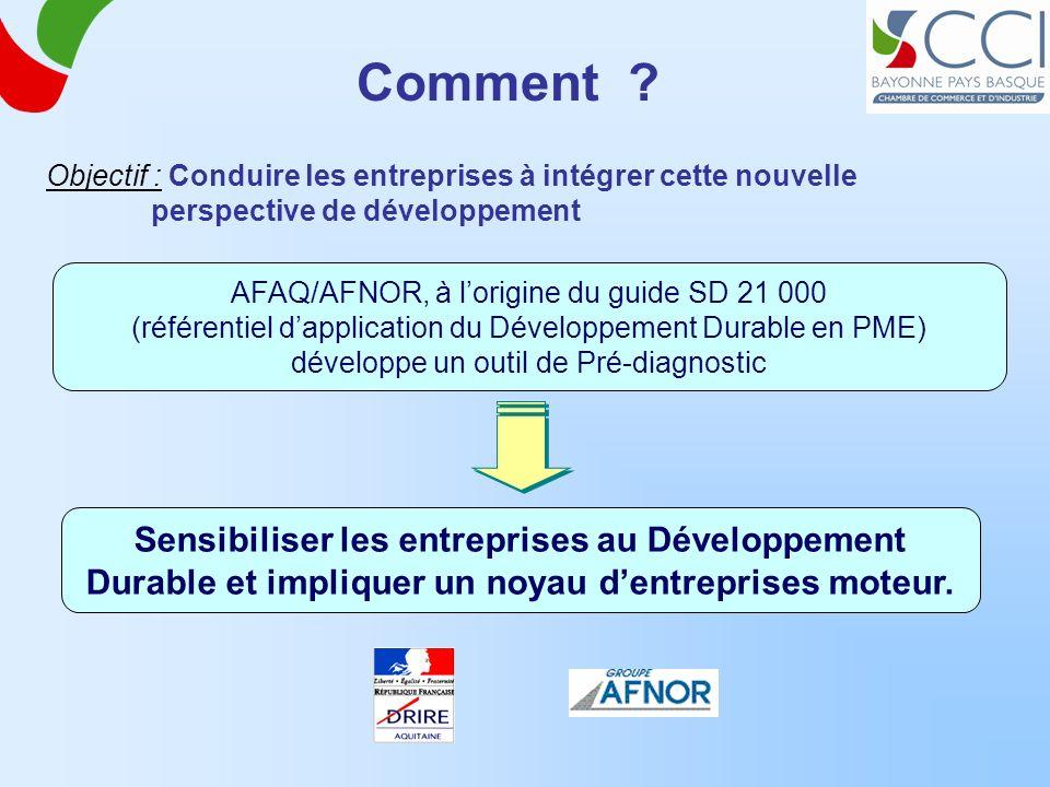 Comment ? Objectif : Conduire les entreprises à intégrer cette nouvelle perspective de développement AFAQ/AFNOR, à lorigine du guide SD 21 000 (référe