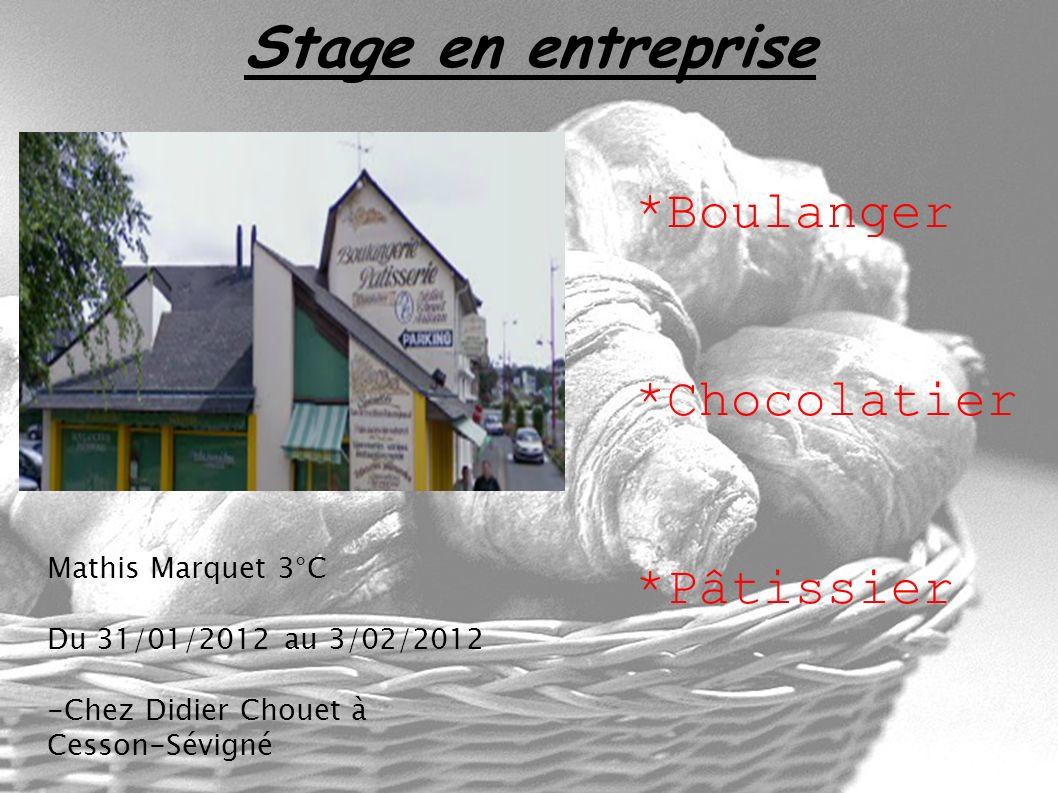 Stage en entreprise Mathis Marquet 3°C Du 31/01/2012 au 3/02/2012 -Chez Didier Chouet à Cesson-Sévigné *Boulanger *Chocolatier *Pâtissier