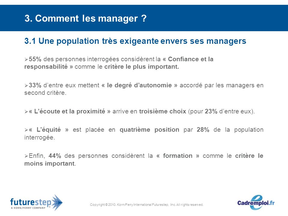 Copyright © 2010. Korn/Ferry International Futurestep, Inc. All rights reserved. 3. Comment les manager ? 3.1 Une population très exigeante envers ses