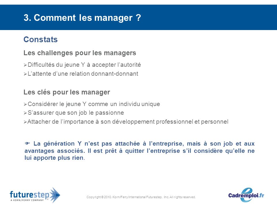 Copyright © 2010. Korn/Ferry International Futurestep, Inc. All rights reserved. 3. Comment les manager ? Constats Les challenges pour les managers Di