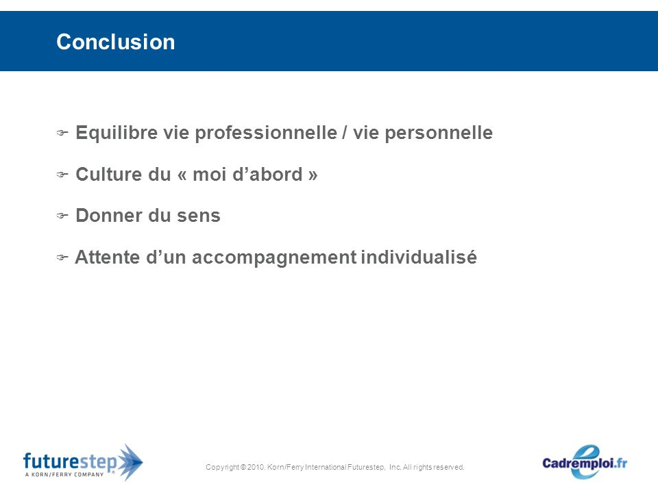 Copyright © 2010. Korn/Ferry International Futurestep, Inc. All rights reserved. Conclusion Equilibre vie professionnelle / vie personnelle Culture du