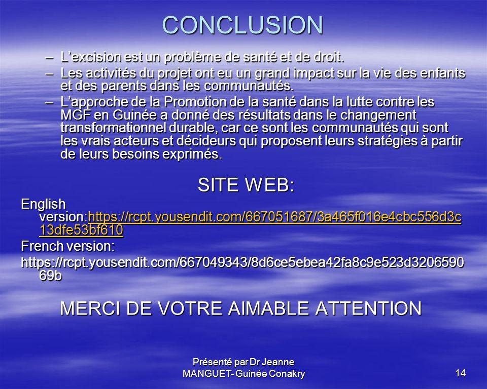 Présenté par Dr Jeanne MANGUET- Guinée Conakry14 CONCLUSION –Lexcision est un problème de santé et de droit. –Les activités du projet ont eu un grand