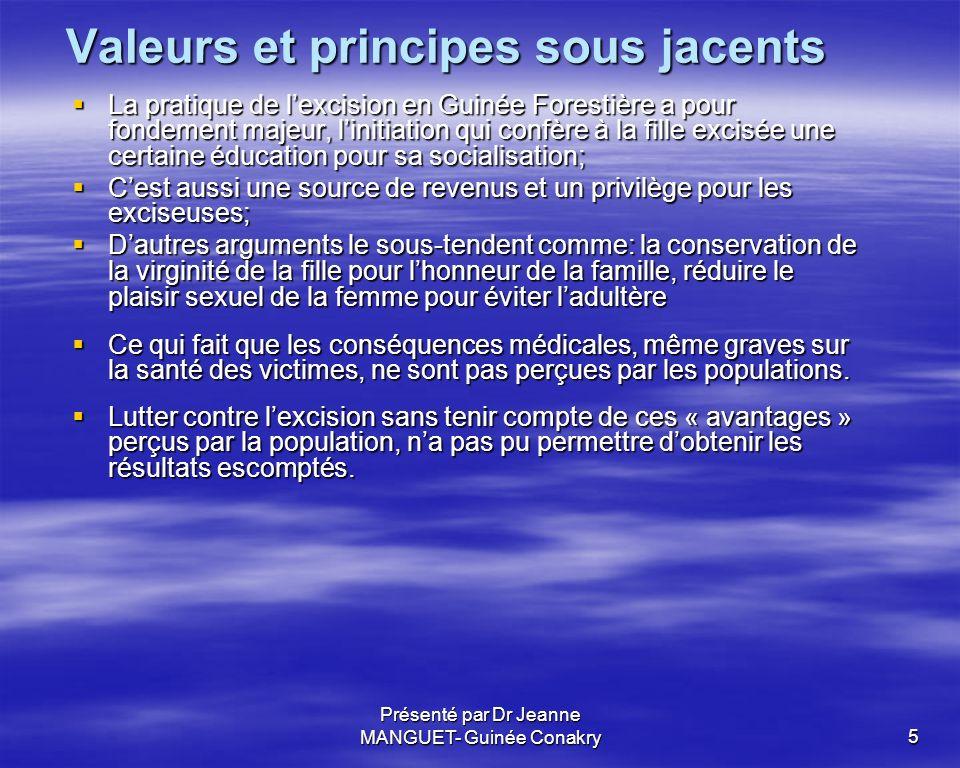 Présenté par Dr Jeanne MANGUET- Guinée Conakry5 Valeurs et principes sous jacents La pratique de lexcision en Guinée Forestière a pour fondement majeu