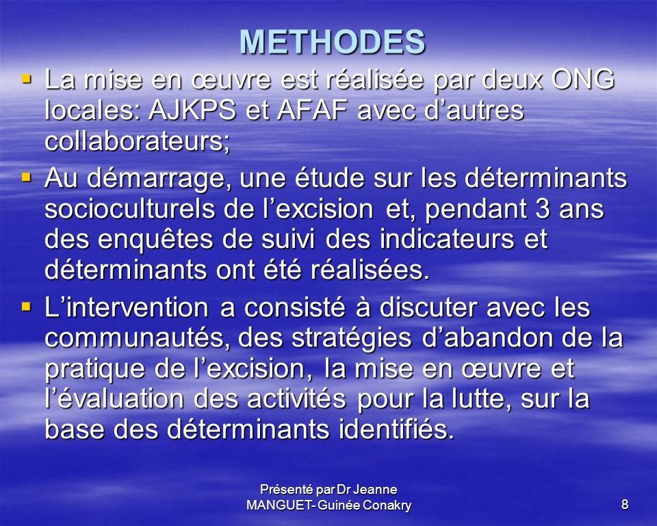 Présenté par Dr Jeanne MANGUET- Guinée Conakry8 METHODES METHODES La mise en œuvre est réalisée par deux ONG locales: AJKPS et AFAF avec dautres colla