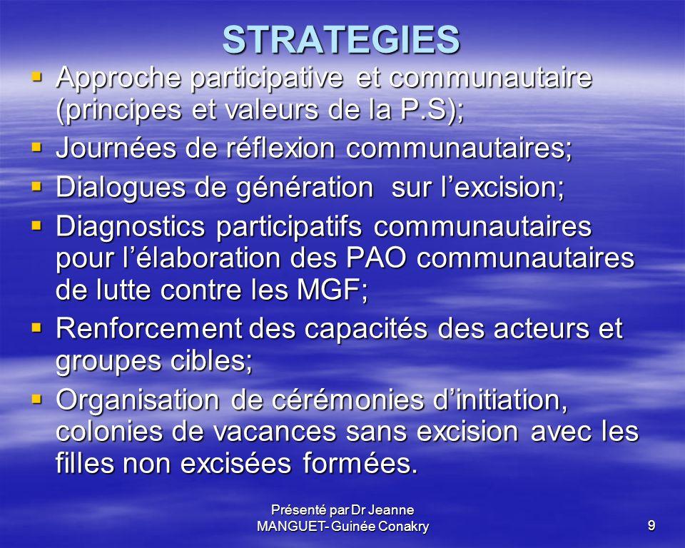 Présenté par Dr Jeanne MANGUET- Guinée Conakry9 STRATEGIES Approche participative et communautaire (principes et valeurs de la P.S); Approche particip
