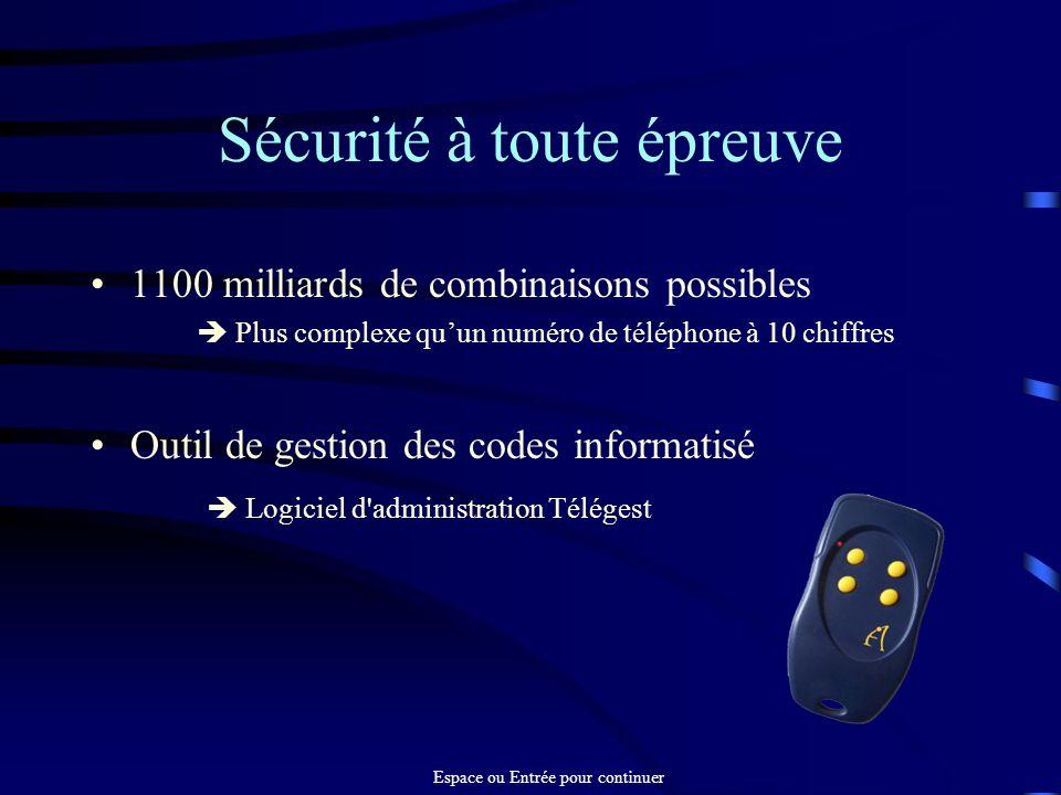Sécurité à toute épreuve 1100 milliards de combinaisons possibles Plus complexe quun numéro de téléphone à 10 chiffres Outil de gestion des codes info