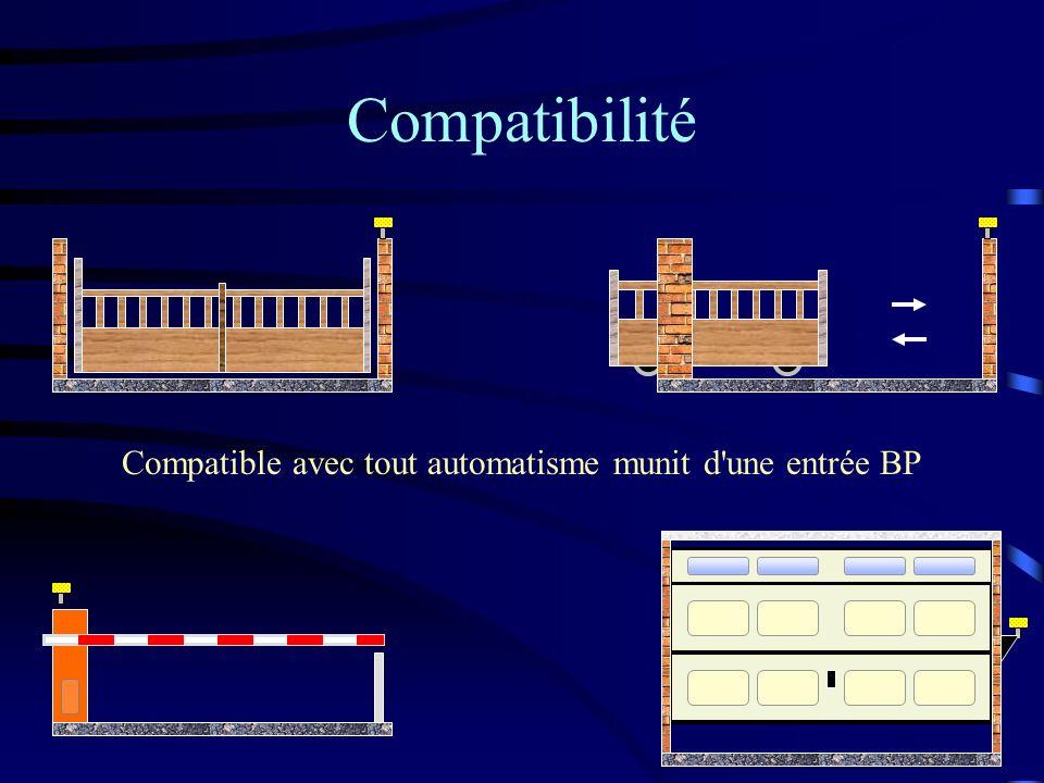 Compatible avec tout automatisme munit d'une entrée BP Compatibilité