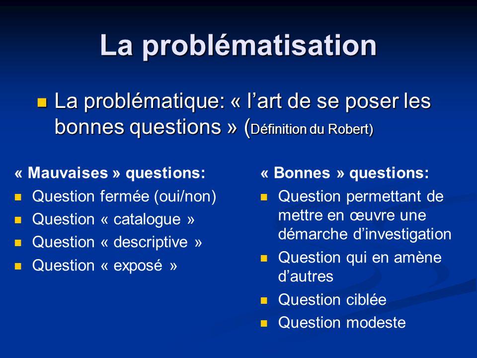 La problématisation La problématique: « lart de se poser les bonnes questions » ( Définition du Robert) La problématique: « lart de se poser les bonne