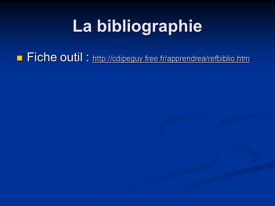 La bibliographie Fiche outil : http://cdipeguy.free.fr/apprendrea/refbiblio.htm Fiche outil : http://cdipeguy.free.fr/apprendrea/refbiblio.htm http://