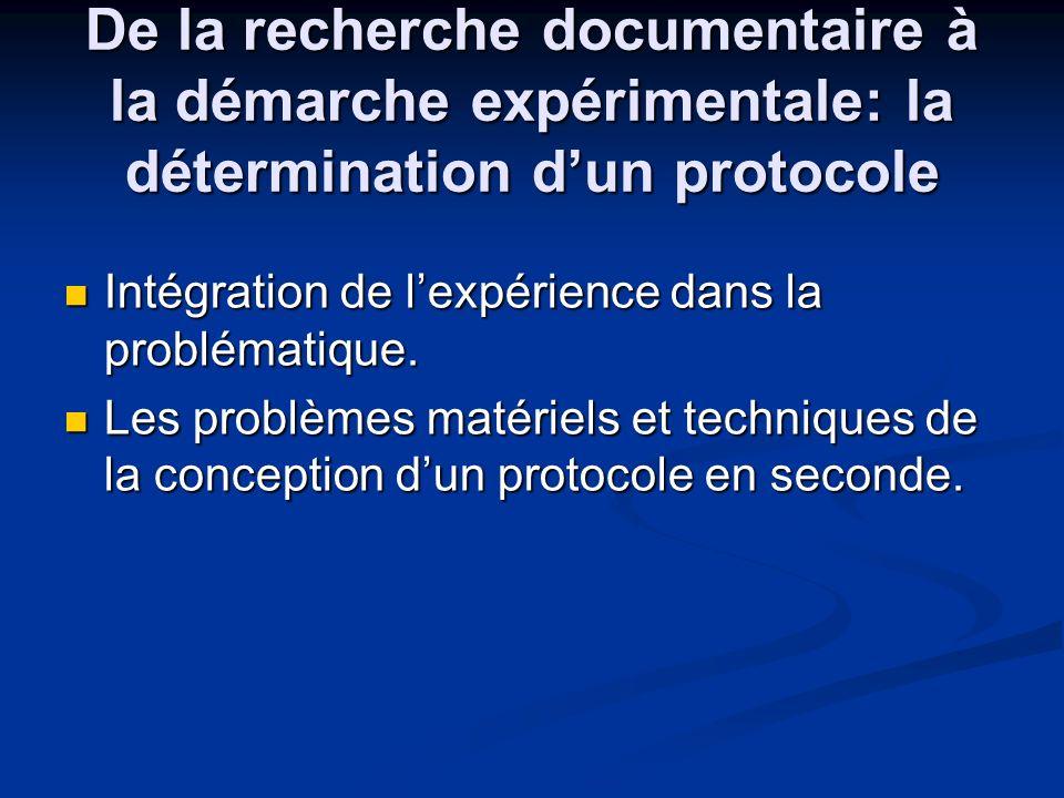 De la recherche documentaire à la démarche expérimentale: la détermination dun protocole Intégration de lexpérience dans la problématique. Intégration