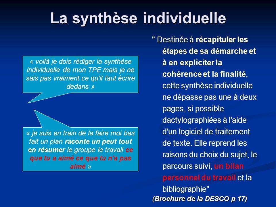La synthèse individuelle