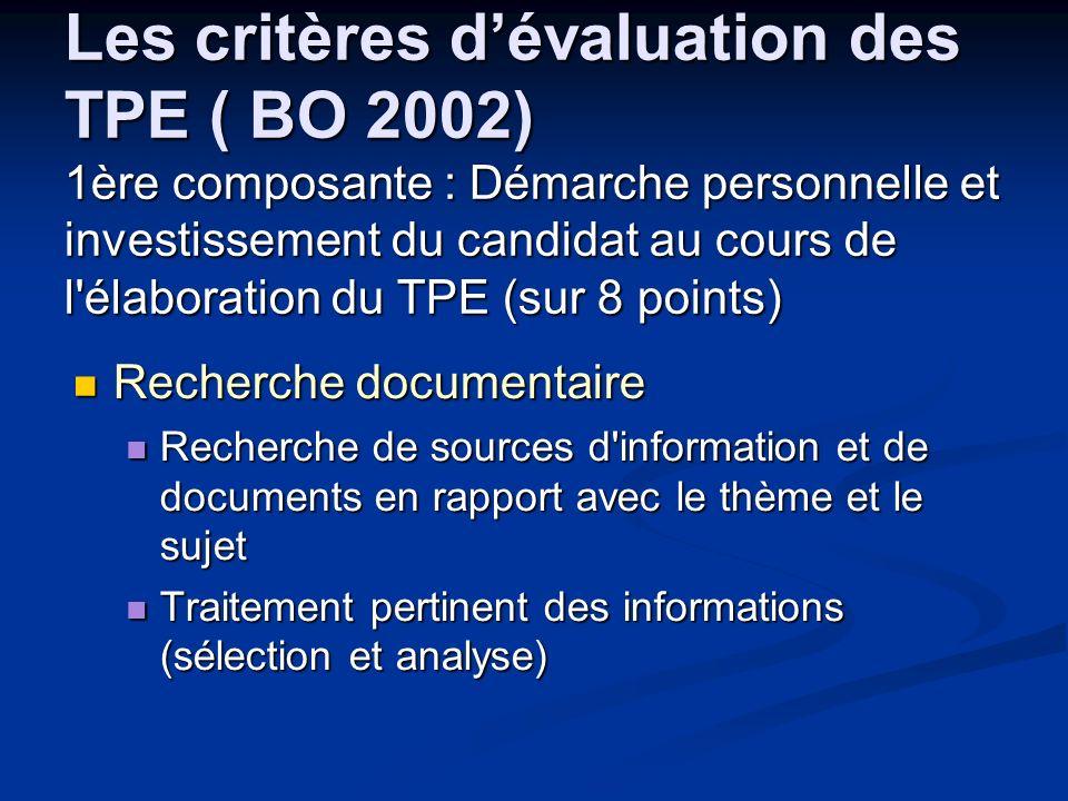 Les critères dévaluation des TPE ( BO 2002) 1ère composante : Démarche personnelle et investissement du candidat au cours de l'élaboration du TPE (sur