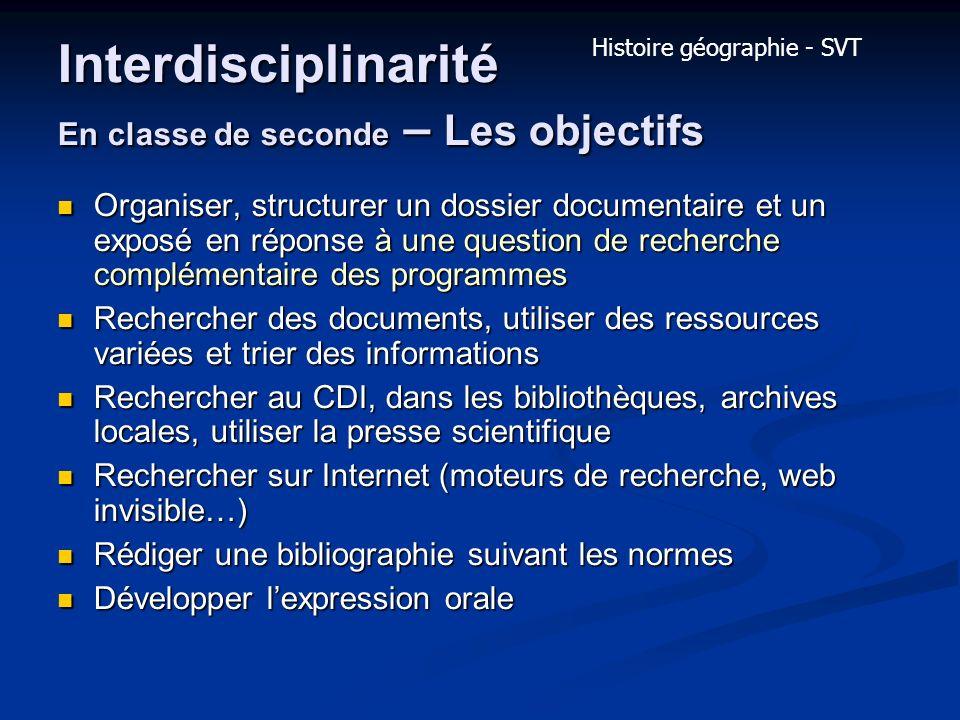 Interdisciplinarité En classe de seconde – Les objectifs Organiser, structurer un dossier documentaire et un exposé en réponse à une question de reche