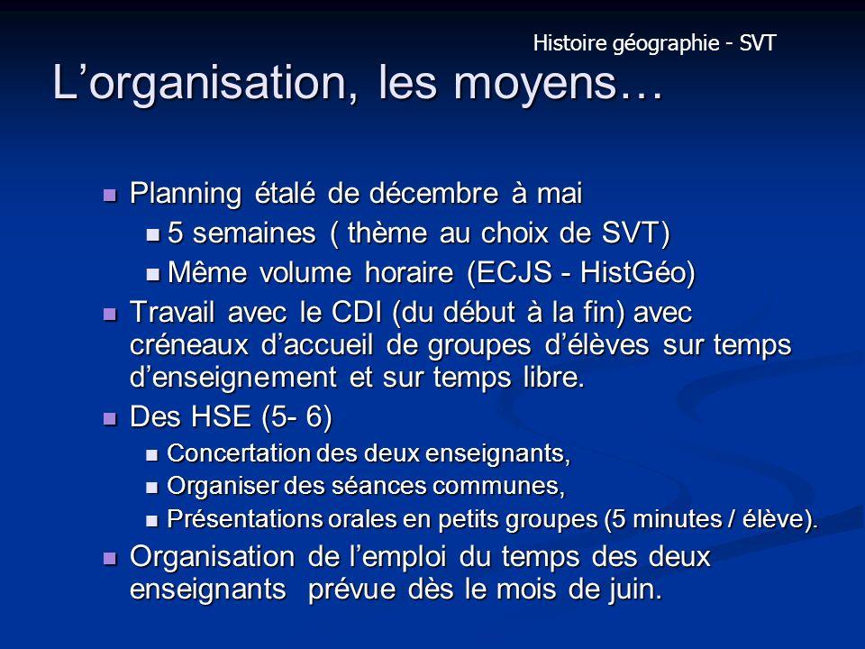 Lorganisation, les moyens… Planning étalé de décembre à mai Planning étalé de décembre à mai 5 semaines ( thème au choix de SVT) 5 semaines ( thème au