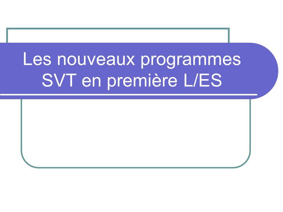 Les nouveaux programmes SVT en première L/ES
