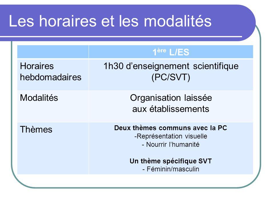 Les horaires et les modalités 1 ère L/ES Horaires hebdomadaires 1h30 denseignement scientifique (PC/SVT) ModalitésOrganisation laissée aux établisseme