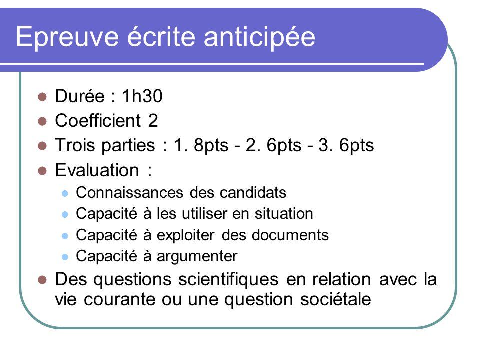 Epreuve écrite anticipée Durée : 1h30 Coefficient 2 Trois parties : 1. 8pts - 2. 6pts - 3. 6pts Evaluation : Connaissances des candidats Capacité à le