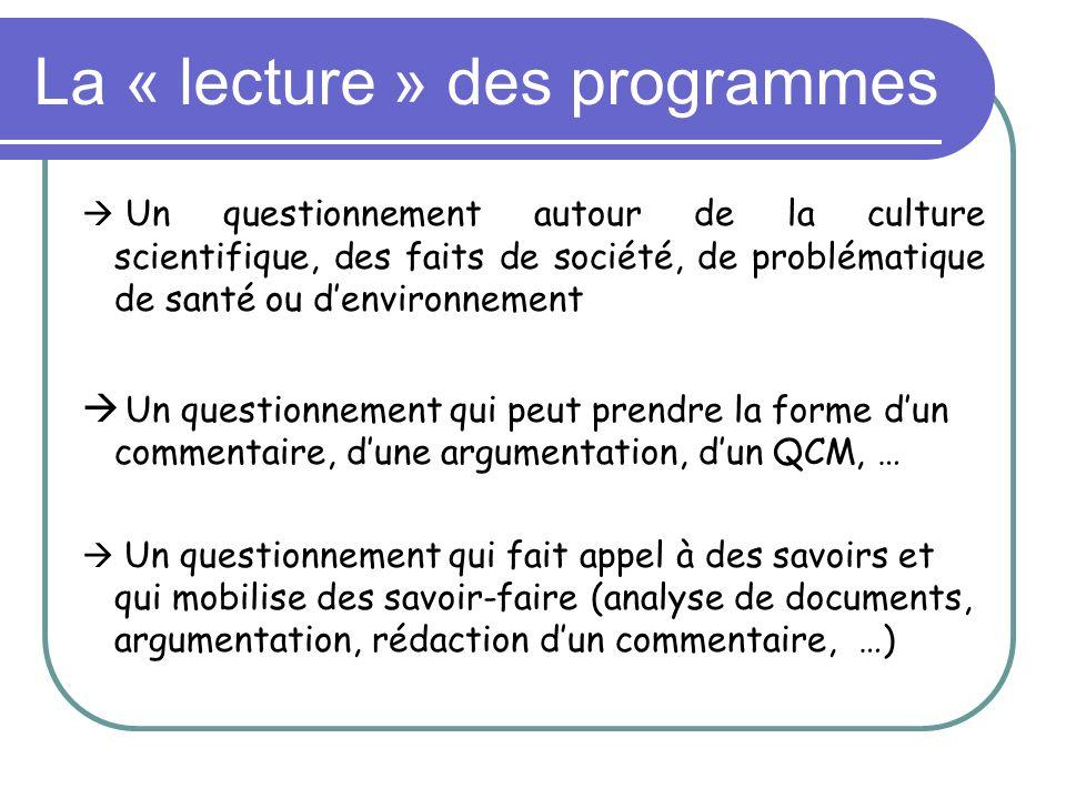 La « lecture » des programmes Un questionnement autour de la culture scientifique, des faits de société, de problématique de santé ou denvironnement U