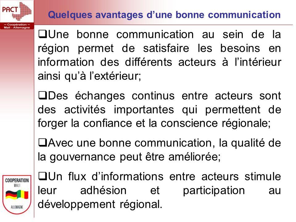 Une bonne communication au sein de la région permet de satisfaire les besoins en information des différents acteurs à lintérieur ainsi quà lextérieur;