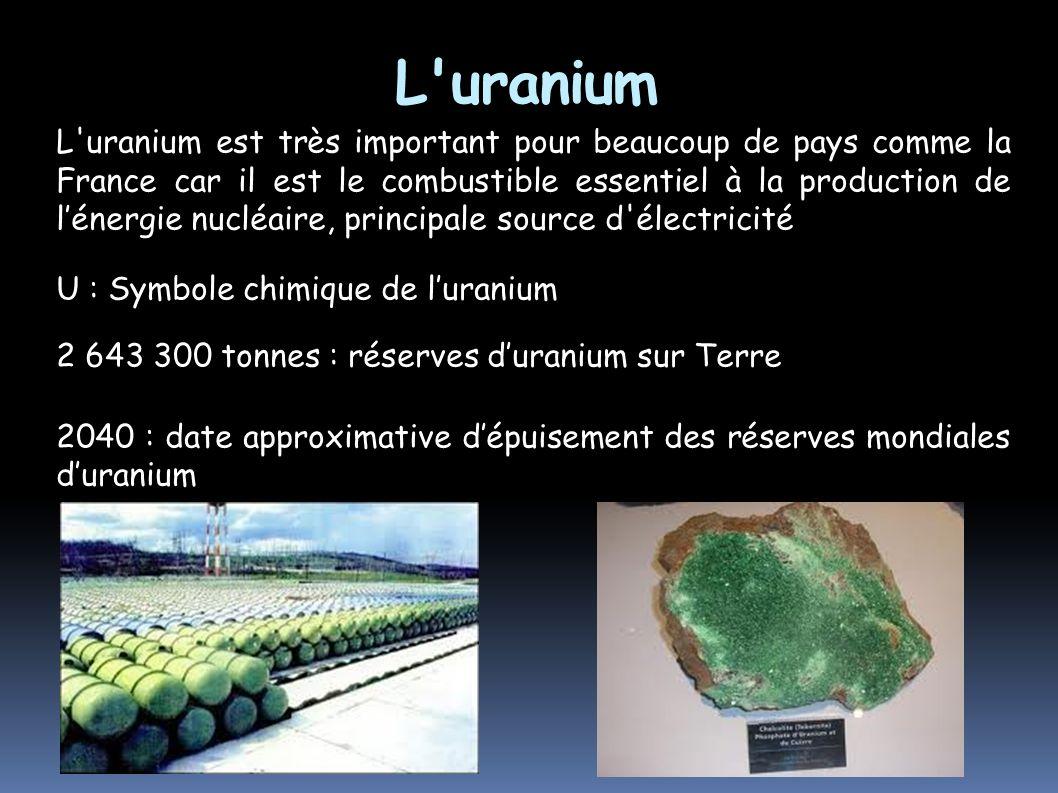 L'uranium L'uranium est très important pour beaucoup de pays comme la France car il est le combustible essentiel à la production de lénergie nucléaire
