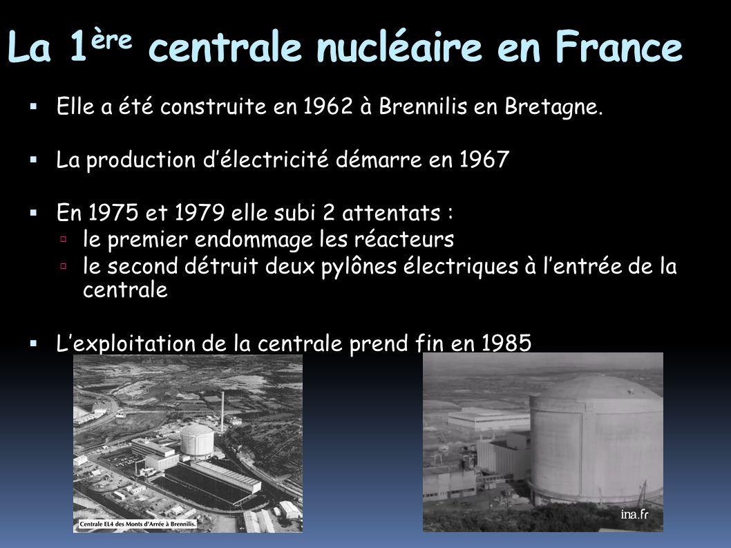 La 1 ère centrale nucléaire en France Elle a été construite en 1962 à Brennilis en Bretagne. La production délectricité démarre en 1967 En 1975 et 197