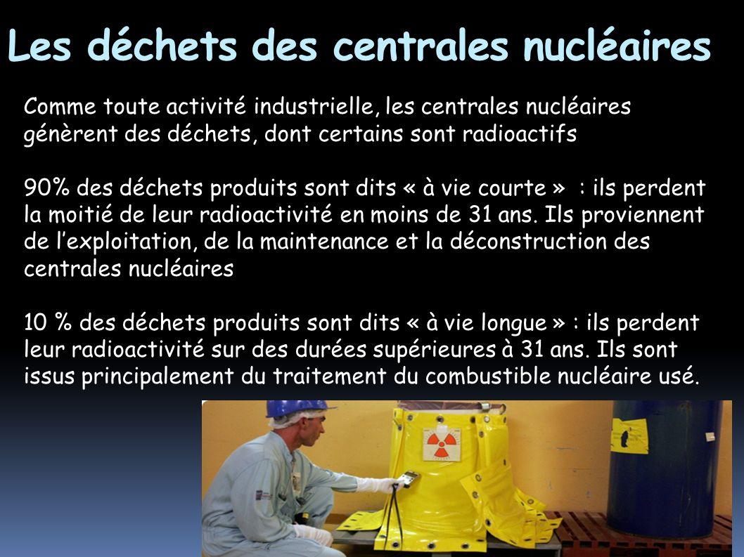 Les déchets des centrales nucléaires Comme toute activité industrielle, les centrales nucléaires génèrent des déchets, dont certains sont radioactifs