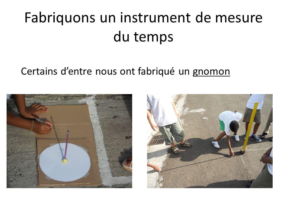 Fabriquons un instrument de mesure du temps Certains dentre nous ont fabriqué un gnomon