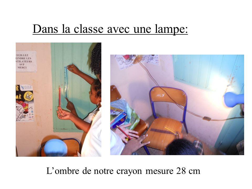 Dans la classe avec une lampe: Lombre de notre crayon mesure 28 cm