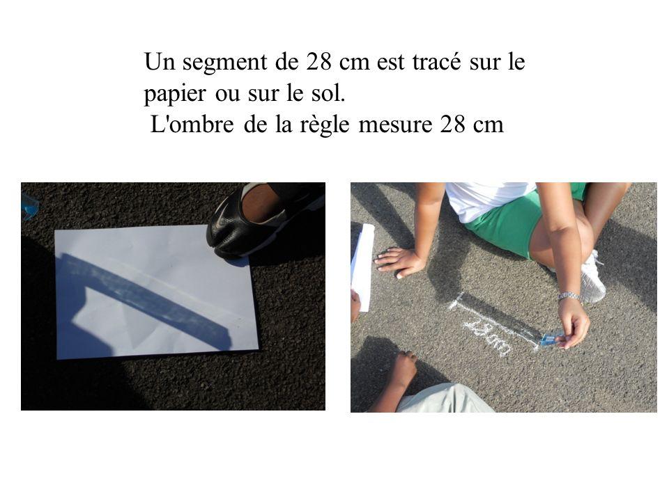 Un segment de 28 cm est tracé sur le papier ou sur le sol. L'ombre de la règle mesure 28 cm