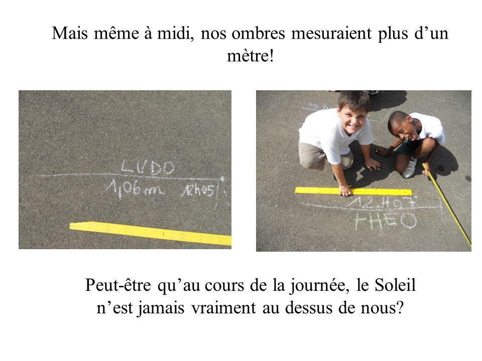 Mais même à midi, nos ombres mesuraient plus dun mètre.