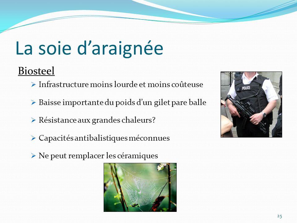 25 La soie daraignée Biosteel Infrastructure moins lourde et moins coûteuse Baisse importante du poids dun gilet pare balle Résistance aux grandes cha