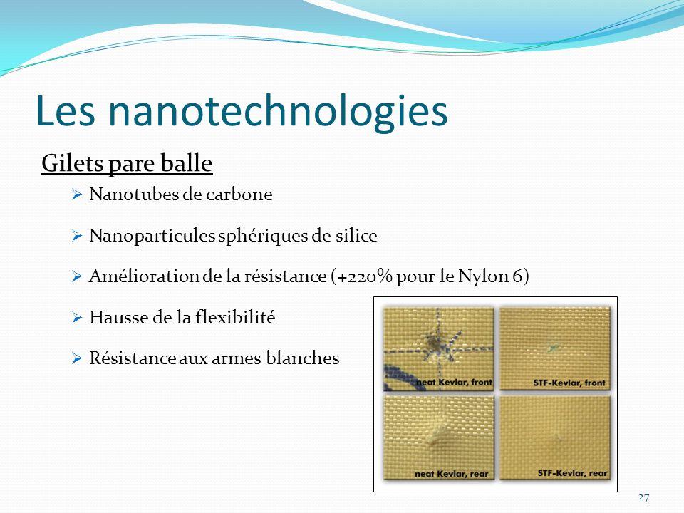 27 Les nanotechnologies Gilets pare balle Nanotubes de carbone Nanoparticules sphériques de silice Amélioration de la résistance (+220% pour le Nylon