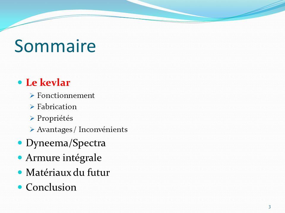 Sommaire Le kevlar Fonctionnement Fabrication Propriétés Avantages / Inconvénients Dyneema/Spectra Armure intégrale Matériaux du futur Conclusion 3
